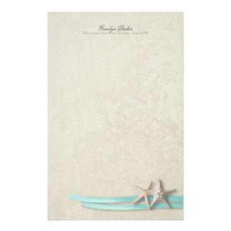 Starfish and Aqua Ribbon Stationery