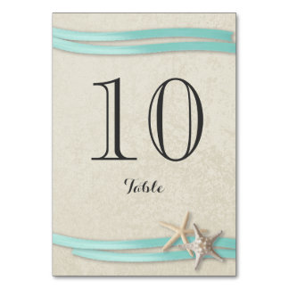 Starfish and Aqua Ribbon Table Number Card
