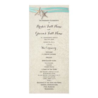 Starfish and Aqua Ribbon Wedding Program Custom Rack Card