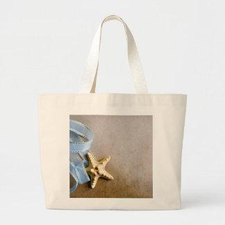 Starfish and blue ribbon jumbo tote bag