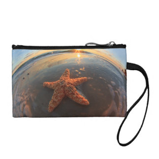 Starfish and Bubbles at Sunset Change Purses