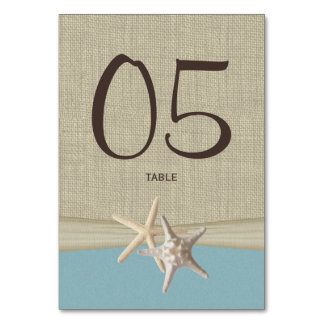 Starfish and Burlap Blue Table Number Card