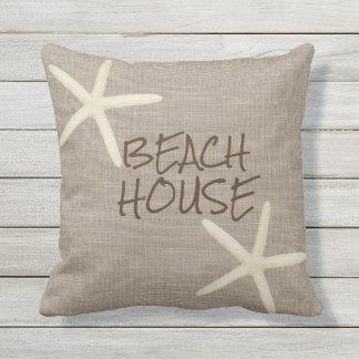 Starfish and Burlap Outdoor Throw Pillow