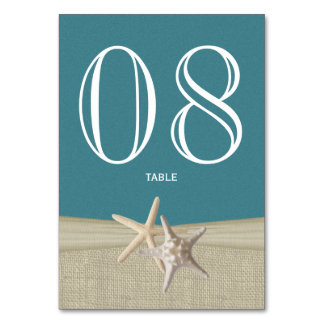 Starfish and Burlap Table Number Card Table Card