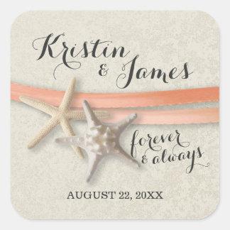 Starfish and Coral Ribbon Beach Wedding Square Sticker