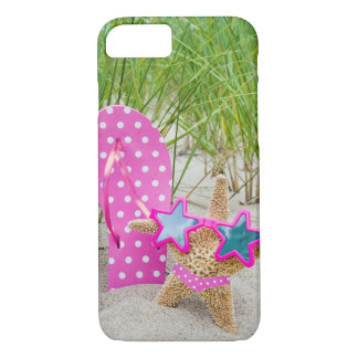 starfish and flip-flops in sand iPhone 7 case