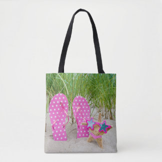 starfish and flip-flops in sand tote bag