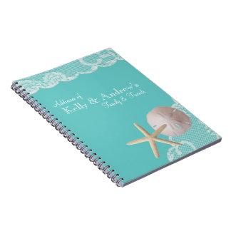 Starfish and Lace Beach Aqua Notebooks