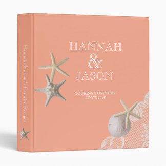 Starfish and Lace Light Coral Beach Recipes 3 Ring Binders