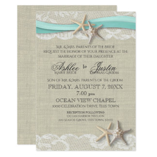 "Starfish and Lace Rustic Beach Aqua Wedding 5"" X 7"" Invitation Card"