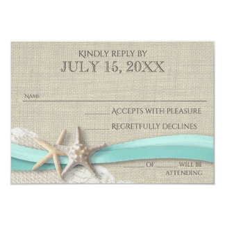 "Starfish and Lace Rustic Response Card 3.5"" X 5"" Invitation Card"