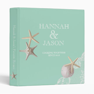 Starfish and Lace Seafoam Green Beach Recipes Vinyl Binders