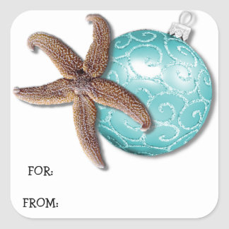 Starfish and Ornament Tropical Christmas Gift Tag