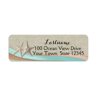 Starfish and Ribbon Aqua and Peach Return Address Label