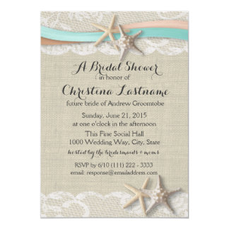 Starfish and Ribbon Aqua Peach Bridal Shower Card