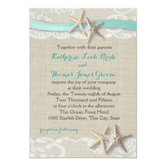 Starfish and Ribbon Beach Aqua Card