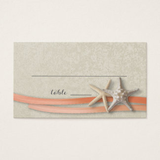 Starfish and Ribbon Place card Coral