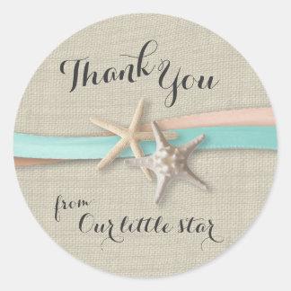 Starfish and Ribbon Round Sticker