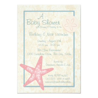 "Starfish and Sand Dollar Baby Shower 5"" X 7"" Invitation Card"