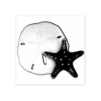 Starfish and Sand Dollar Rubber Stamp