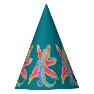 starfish and seahorses party hat