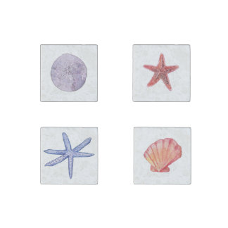 Starfish and Seashell magnets