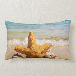 Starfish and Seashells on the Beach Lumbar Pillow