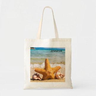 Starfish and Seashells on the Beach Personalized Tote Bag
