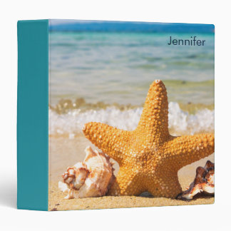Starfish and Seashells on the Beach Personalized Vinyl Binders