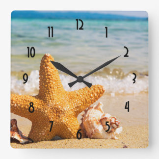Starfish and Seashells on the Beach Square Wall Clock