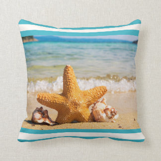 Starfish and Seashells on the Beach Throw Pillow