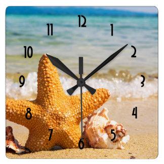 Starfish and Seashells on the Beach Wallclock