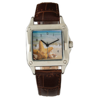 Starfish and Seashells on the Beach Wrist Watch