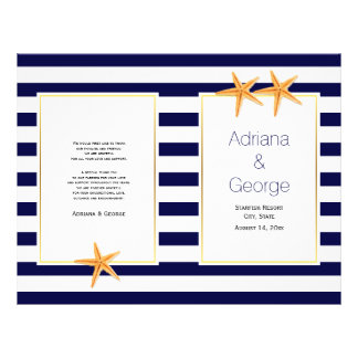 Starfish and stripes folded beach wedding program flyer design