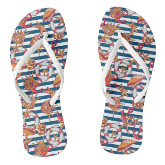 Starfish And Stripes Pattern Flip Flops