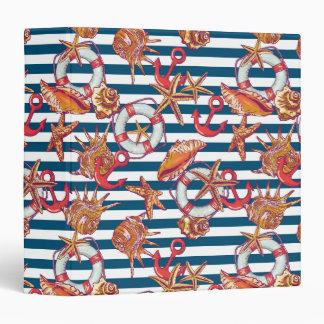 Starfish And Stripes Pattern Vinyl Binders
