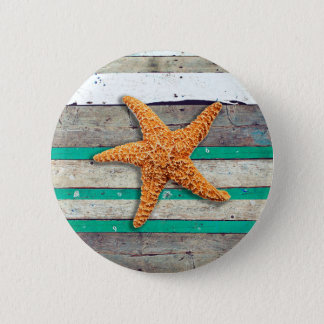 Starfish and Weathered Planks Beach 2 Inch Round Button