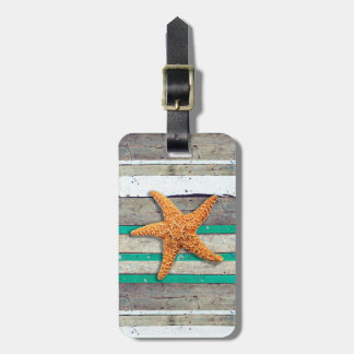 Starfish and Weathered Planks Beach Luggage Tag