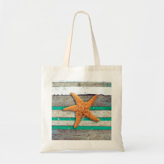 Starfish and Weathered Planks Beach Tote Bag