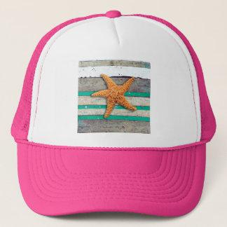 Starfish and Weathered Planks Beach Trucker Hat