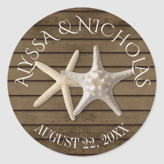 Starfish and Wood Classic Round Sticker