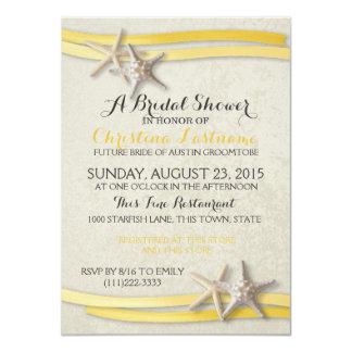 "Starfish and Yellow Ribbon Bridal Shower 4.5"" X 6.25"" Invitation Card"