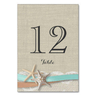 Starfish Aqua and Peach Ribbon Table Number Card