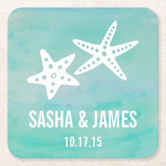 Starfish Aqua Beach Wedding Coasters