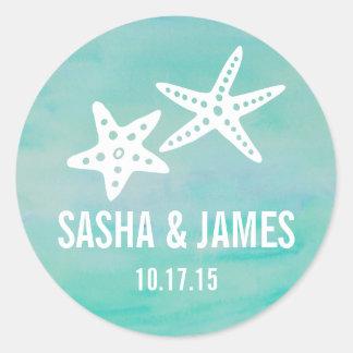Starfish Aqua Personalized Wedding Stickers
