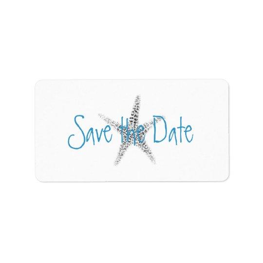 Starfish (B&W) Save the Date Label