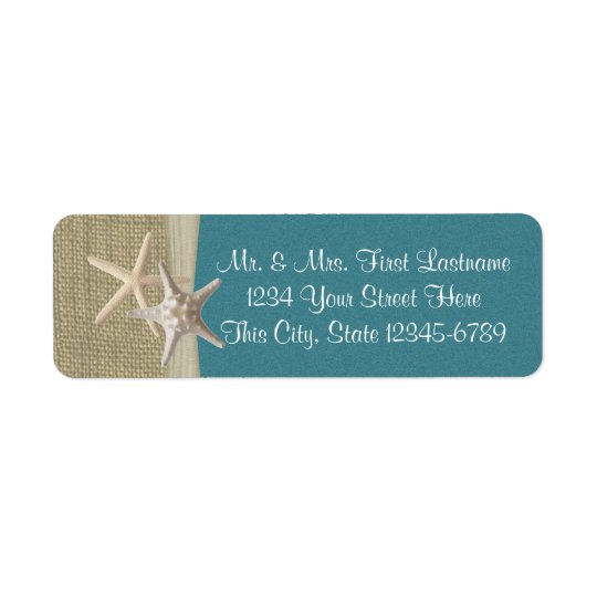Starfish Beach and Burlap Teal Return Address Label