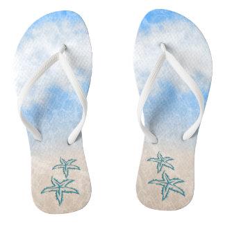 Starfish Beach Blue Flip Flops