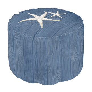 Starfish Beach Blue Wood Pouf Seat