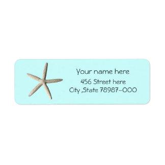 Starfish beach return address label. return address label